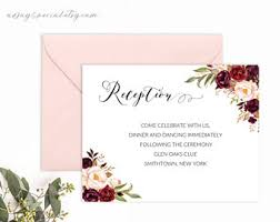 wedding reception cards reception card etsy