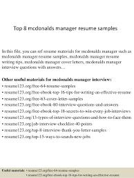 Mcdonalds Resume Skills Top 8 Mcdonalds Manager Resume Samples 1 638 Jpg Cb U003d1428676142