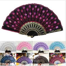 held folding fans embroidered fabric folding held fan wedding party