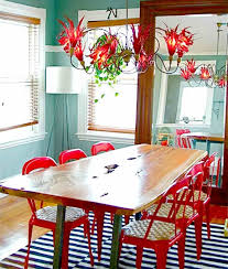 Red Dining Room Table Awesome Dining Room Design With Oak Table Atrractive Pendant Lamp