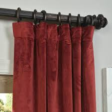 Overstock Blackout Curtains Signature Burgundy Blackout Velvet Pole Pocket Single Panel
