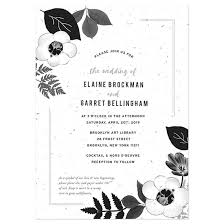 wedding invitations black and white black white blooms plantable wedding invitation plantable