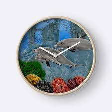 beautiful clocks wall clock artistic decorative items dolphins aqua blue grey