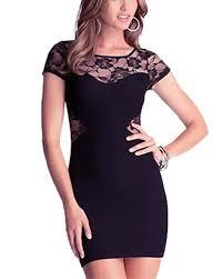 black lace insert bodycon mini dress dr0130201