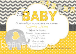 Baby Shower Invitation Creator Yellow And Gray Elephant Baby Shower Invitation 12 50 Via Etsy