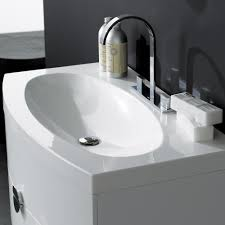 MILANO STONE Gloss White Wall Mounted Vanity Unit Curved Front - Designer vanity units for bathroom