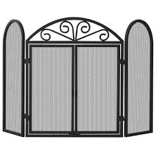 Fireplace Screen Doors Home Depot by Uniflame Black Wrought Iron 3 Panel Fireplace Screen With Opening