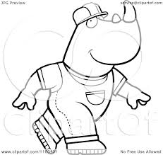 cartoon clipart of a black and white construction worker rhino in
