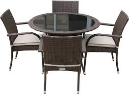 outdoor dining sets with black tinted glass top table and wicker