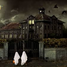 children in ghost costumes trick or treat at haunted house hd