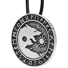 wolf necklace pendant images Norse runic wolves amulet for men skoll hati sun moon vikings jpg