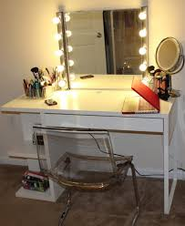Narrow Makeup Vanity Table Furniture Rectangle White Wooden Makeup Vanity Table With
