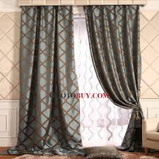 Black Out Curtain Fabric Insulated Thick Cotton And Fiber Geometric Pattern Blackout