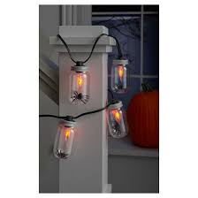 flicker flame string lights halloween flicker flame clear jar lights with spiders hyde and eek