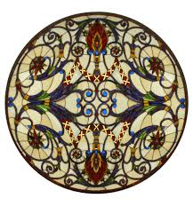 71886 tiffany spiral medallion stained glass window