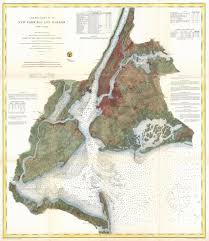Us New York Map by 1866 U S Coast Survey Nautical Chart Of Map Of New York City And