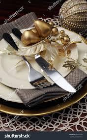 Formal Dinner Place Setting Latest Trend Gold Metallic Theme Christmas Stock Photo 155443904