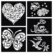 1pcs butterfly heart dragon bird large airbrush tattoo stencil for