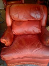Cleaning Leather Chairs Leather Chair Body Oil Damage Repair U0026 Redyed New Foam The