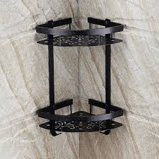 xogolo space aluminum solid black wall mounted double tiers corner