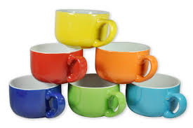set of 6 large sized 14 oz colored ceramic coffee u0026 soup mugs