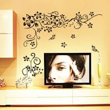 compare prices on decorative wall graphics online shopping buy fashion butterfly vine flower vinyl wall art stickers wall decals wall graphics decor new