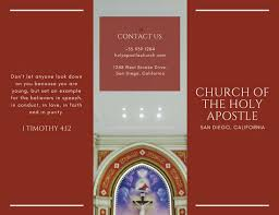 dark red with photo church trifold brochure templates by canva