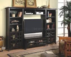 antique black finish wall entertainment unit w book shelves
