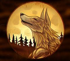 how to draw a wolf moon by werewolves monsters free