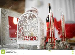 wedding decoration table set for an romantic dinner or reception