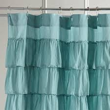 Curtains With Turquoise Ruffled Turquoise Shower Curtain Pier 1 Imports