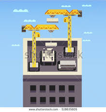House Flat Design Construction Site Building House Thin Line Stock Vector 519013735