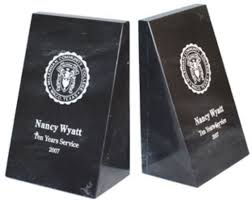 engraved bookends gift desk items award specialties