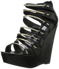 steve madden wingger womens black wedge sandals shoes size uk 65