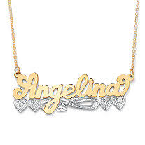 gold name plate necklace personalized heart nameplate necklace in 18k gold sterling