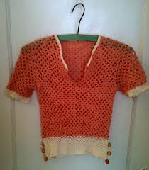 vintage 1920 u0027s apricot color hand crocheted top with 6 gold