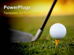 powerpoint template golf club resting on green behind ball and