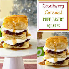 new thanksgiving desserts cranberry caramel puff pastry dessert squares its yummi