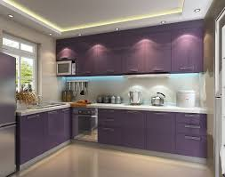 gorgeous small purple and white kitchen cabinets with black gloss