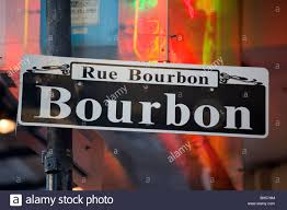 bourbon sign bourbon sign in the quarter of new orleans la stock