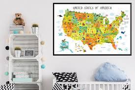 usa map for kids playroom decor nursery art classroom decor