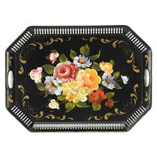 themed serving tray floral themed painted metal serving tray ebth
