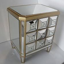 Mirrored Furniture For Bedroom by Furniture Silver Mirrored Nightstand Cheap With Double Drawers