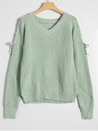 green sweaters side slit lace up v neck sweater light green sweaters one size