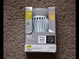 ecosmart 8 watt a19 led light bulb unboxing installation
