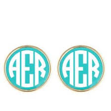 Monogrammed Earrings Enamel Monogram Earrings Studs Monograms