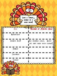 thanksgiving reading log by vossome readers tpt