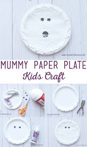 mummy paper plate kids craft the crafting