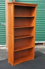 mission style 6 foot tall red oak bookcase w 4 adjustable shelves