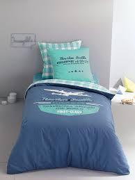 Couette Taille Standard Housse De Couette Enfant Aeronautic Bleu Pétrole Imprimé Carreaux